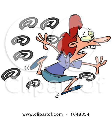 Royalty-Free (RF) Clip Art Illustration of a Cartoon Spammed Businesswoman by toonaday