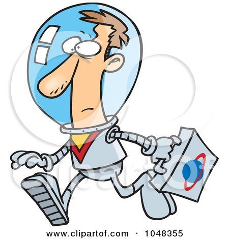 Royalty-Free (RF) Clip Art Illustration of a Cartoon Space Businessman by toonaday