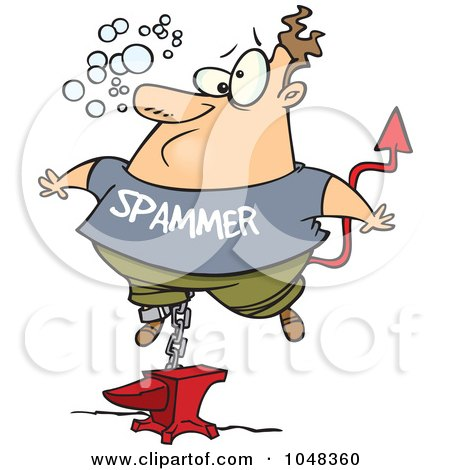 Royalty-Free (RF) Clip Art Illustration of a Cartoon Sinking Spammer by toonaday