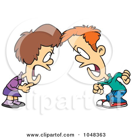 Royalty-Free (RF) Clip Art Illustration of a Cartoon Boy And Girl Having A Yelling Match by toonaday