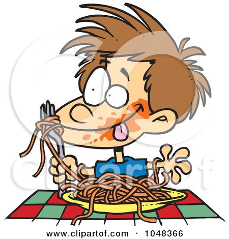 Royalty-Free (RF) Clip Art Illustration of a Cartoon Messy Boy Chowing Down On Spaghetti by toonaday