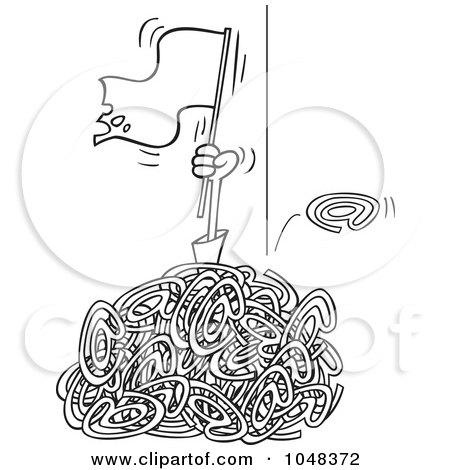Royalty-Free (RF) Clip Art Illustration of a Cartoon Black And White Outline Design Of A Man Waving A White Flat In A Pile Of Spam Email by toonaday