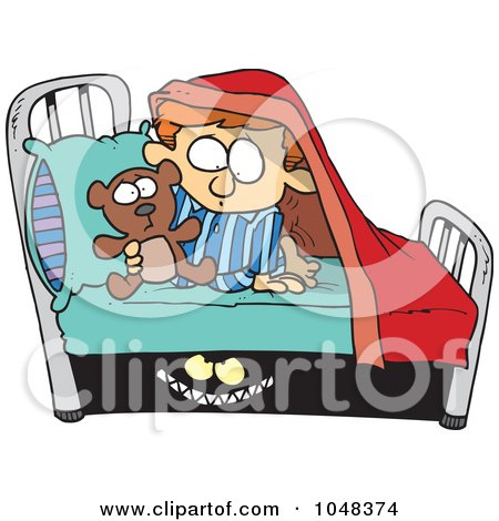 Royalty-Free (RF) Clip Art Illustration of a Cartoon Monster Scaring A Boy Under A Bed by toonaday