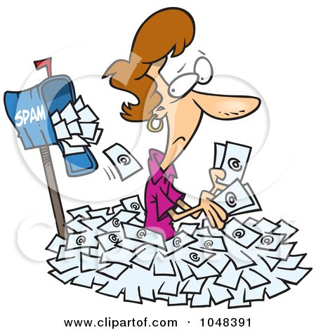 Royalty-Free (RF) Clip Art Illustration of a Cartoon Woman In Spam Mail By A Mailbox by toonaday