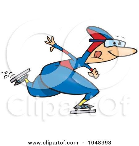 Royalty-Free (RF) Clip Art Illustration of a Cartoon Speed Skater by toonaday