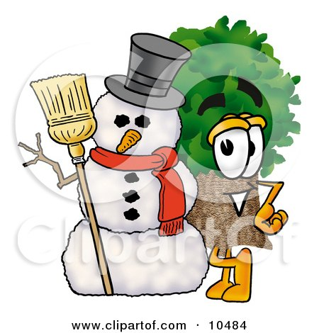 Tree Mascot Cartoon Character With a Snowman on Christmas Posters, Art Prints