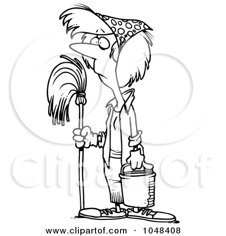 Royalty-Free (RF) Clip Art Illustration of a Cartoon Black And White Outline Design Of A Woman Mopping While Spring Cleaning by toonaday