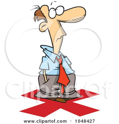 Royalty-Free (RF) Clip Art Illustration of a Cartoon Businessman Standing On An X by toonaday