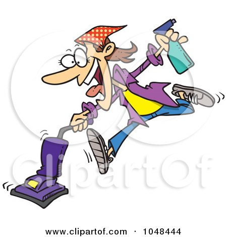 Royalty-Free (RF) Clip Art Illustration of a Cartoon Spring Cleaning Woman Vacuuming by toonaday