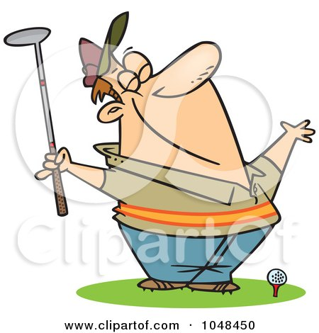 Royalty-Free (RF) Clip Art Illustration of a Cartoon Spring Golfer Smelling The Air by toonaday