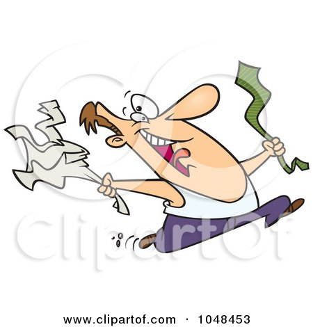 Royalty-free clipart picture of a happy man ripping off his business clothes