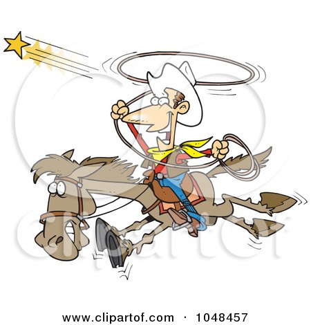 Royalty-Free (RF) Clip Art Illustration of a Cartoon Cowboy Trying To Catch A Star by toonaday