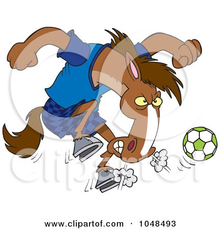 Royalty-Free (RF) Clip Art Illustration of a Cartoon Soccer Stallion by toonaday