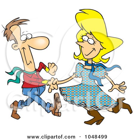 Royalty-Free (RF) Clip Art Illustration of a Cartoon Square Dancing Couple by toonaday