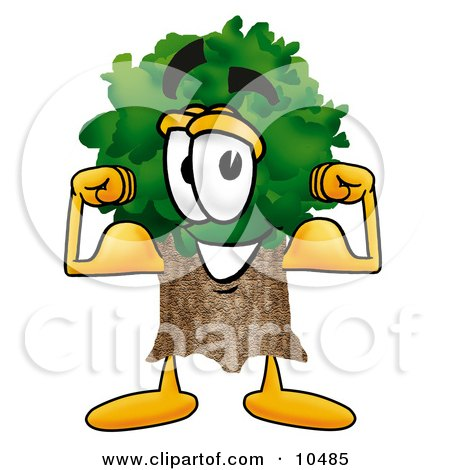 Clipart Picture of a Tree Mascot Cartoon Character Flexing His Arm Muscles by Toons4Biz