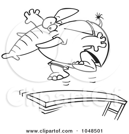 Royalty-Free (RF) Clip Art Illustration of a Cartoon Black And White Outline Design Of An Elephant Jumping On A Diving Board by toonaday