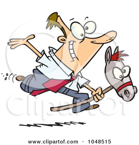 Royalty-Free (RF) Clip Art Illustration of a Cartoon Businessman Riding A Stick Pony by toonaday