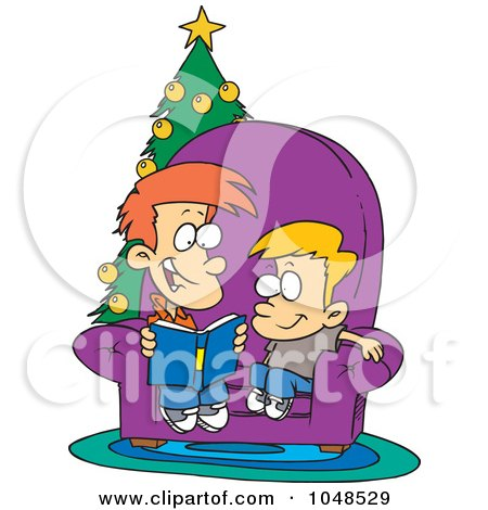Royalty-Free (RF) Clip Art Illustration of a Cartoon Boy Reading A Christmas Story To His Little Brother by toonaday