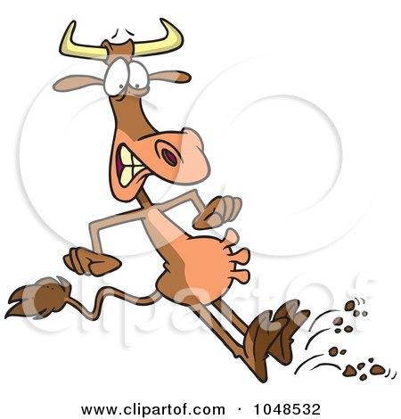 Royalty-Free (RF) Clip Art Illustration of a Cartoon Halting Bull by toonaday