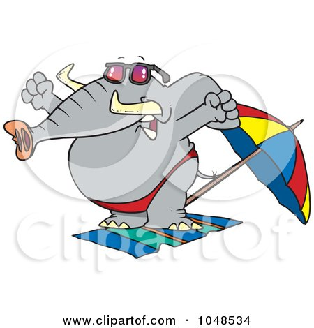 Royalty-Free (RF) Clip Art Illustration of a Cartoon Beach Elephant Stretching by toonaday