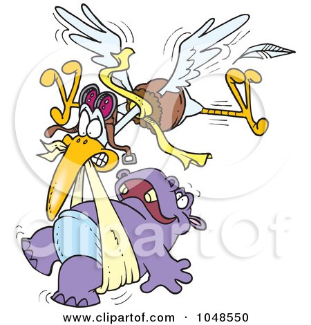 Royalty-Free (RF) Clip Art Illustration of a Cartoon Stork Delivering A Baby Hippo by toonaday