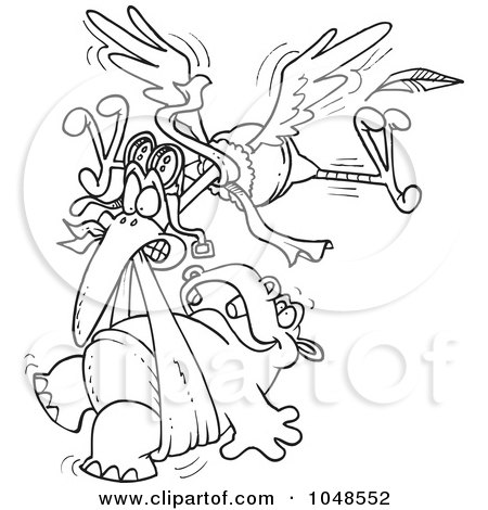 Royalty-Free (RF) Clip Art Illustration of a Cartoon Black And White Outline Design Of A Stork Delivering A Baby Hippo by toonaday