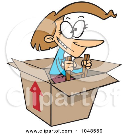 Royalty-Free (RF) Clip Art Illustration of a Cartoon Woman Climbing Out Of A Box by toonaday