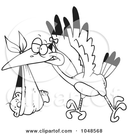 Royalty-Free (RF) Clip Art Illustration of a Cartoon Black And White Outline Design Of A Stork Delivering A Baby In A Blanket by toonaday