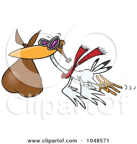 Royalty-Free (RF) Clip Art Illustration of a Cartoon Stork Carrying A Bundle by toonaday