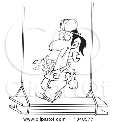 Royalty-Free (RF) Clip Art Illustration of a Cartoon Black And White Outline Design Of A Construction Steel Walker by toonaday
