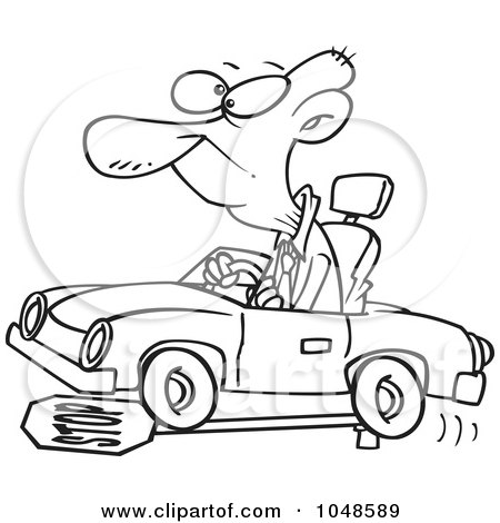 Royalty-Free (RF) Clip Art Illustration of a Cartoon Black And White Outline Design Of A Senior Man Running Over A Stop Sign by toonaday