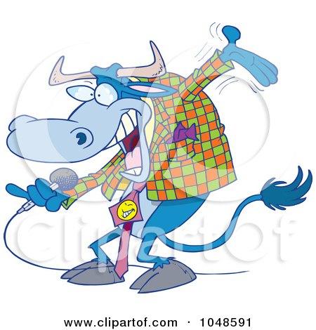 Royalty-Free (RF) Clip Art Illustration of a Cartoon Bull Host by toonaday