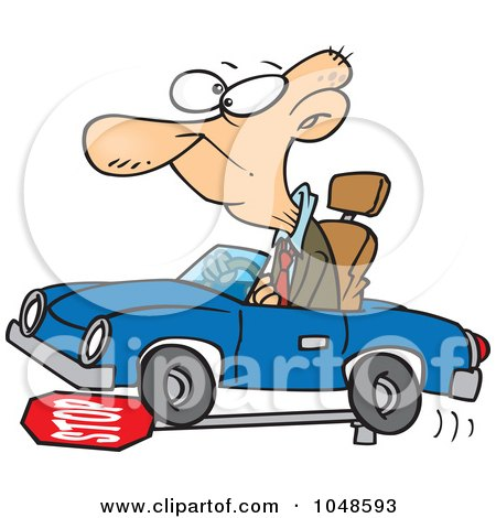 Royalty-Free (RF) Clip Art Illustration of a Cartoon Senior Man Running Over A Stop Sign by toonaday