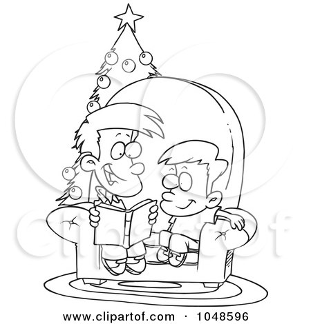 Royalty-Free (RF) Clip Art Illustration of a Cartoon Black And White Outline Design Of A Boy Reading A Christmas Story To His Little Brother by toonaday