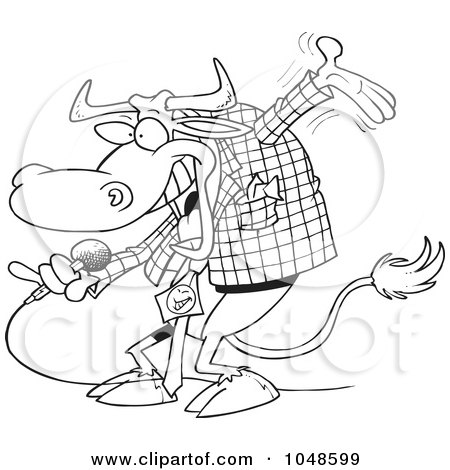 Royalty-Free (RF) Clip Art Illustration of a Cartoon Black And White Outline Design Of A Bull Host by toonaday
