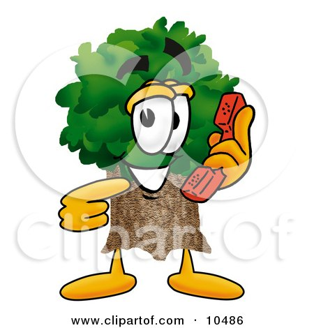 Clipart Picture of a Tree Mascot Cartoon Character Holding a Telephone by Toons4Biz
