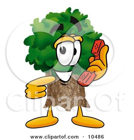 Tree Mascot Cartoon Character Holding a Telephone Posters, Art Prints