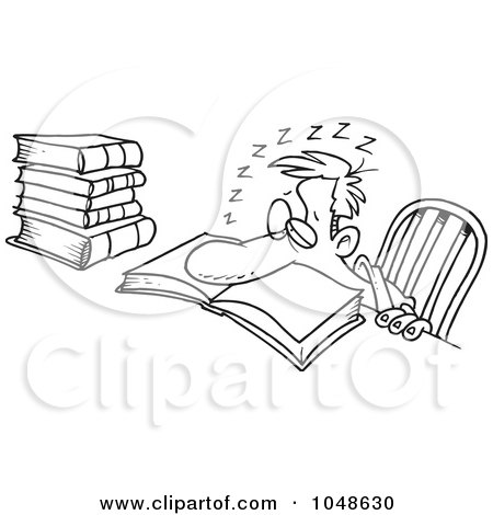 Royalty-Free (RF) Clip Art Illustration of a Cartoon Black And White Outline Design Of A Tired Man Falling Asleep While Studying by toonaday