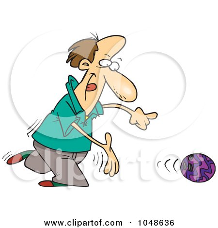 Royalty-Free (RF) Clip Art Illustration of a Cartoon Bowler Releasing A Ball by toonaday