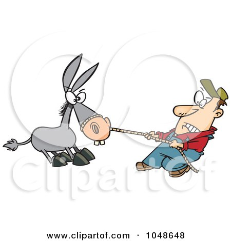 Royalty-Free (RF) Clip Art Illustration of a Cartoon Farmer Pulling A Stubborn Mule by toonaday