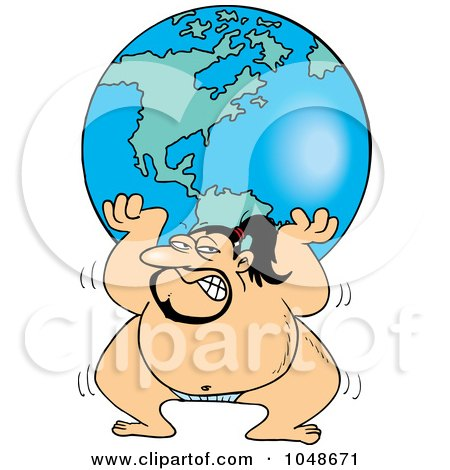 Royalty-Free (RF) Clip Art Illustration of a Cartoon Sumo Wrestler Lifting The Globe by toonaday