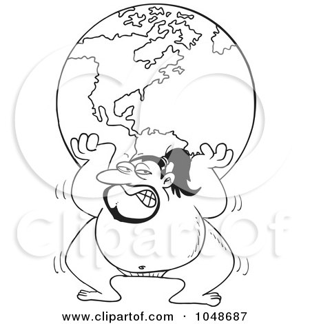 Royalty-Free (RF) Clip Art Illustration of a Cartoon Black And White Outline Design Of A Sumo Wrestler Lifting The Globe by toonaday