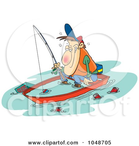 Royalty-Free (RF) Clip Art Illustration of a Cartoon Drunk Man Fishing In A Sinking Boat by toonaday