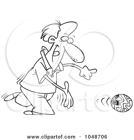 Royalty-Free (RF) Clip Art Illustration of a Cartoon Black And White Outline Design Of A Bowler Releasing A Ball by toonaday