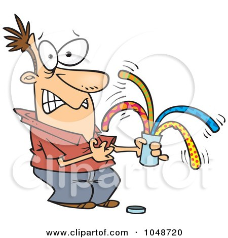 Royalty-Free (RF) Clip Art Illustration of a Cartoon Man Opening A Surprise Can Of Worms by toonaday
