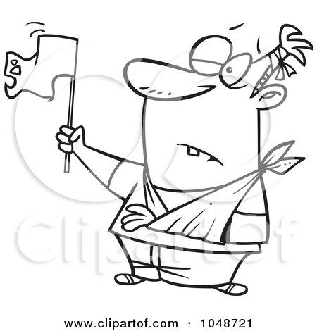 Royalty-Free (RF) Clip Art Illustration of a Cartoon Black And White Outline Design Of A Beat Up Man Surrendering by toonaday