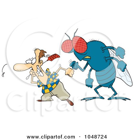 Royalty-Free (RF) Clip Art Illustration of a Cartoon Huge Fly Behind A Man Swatting Flies by toonaday
