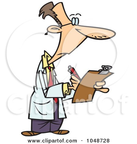 Royalty-Free (RF) Clip Art Illustration of a Cartoon Supervisor Filling Out A Survey by toonaday