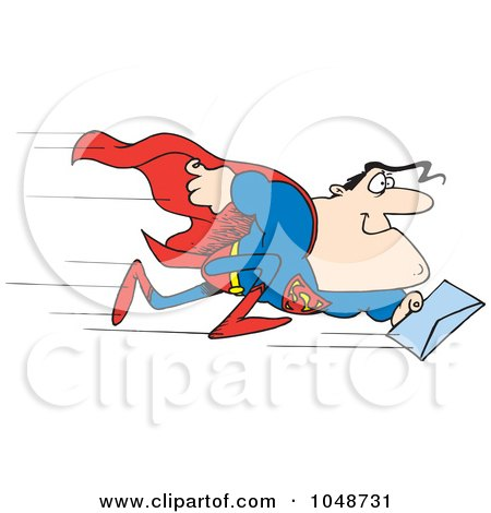 Royalty-Free (RF) Clip Art Illustration of a Cartoon Super Man Rushing A Letter by toonaday