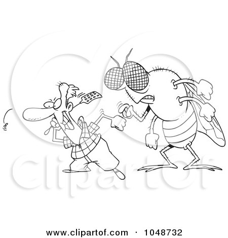 Royalty-Free (RF) Clip Art Illustration of a Cartoon Black And White Outline Design Of A Huge Fly Behind A Man Swatting Flies by toonaday
